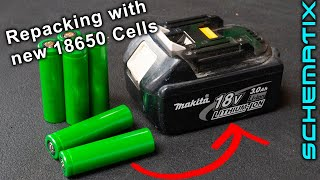 Repacking Makita 18v Lithium battery with New Cells (Save $$$'s)