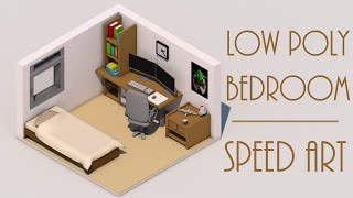 Speed Art [CINEMA 4D] - Low Poly Bed Room