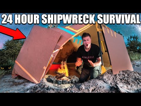 24 HOUR BOX FORT SHIPWRECK BEACH SURVIVAL!! 📦😱 Primitive Technology, Fishing Challenge & More!
