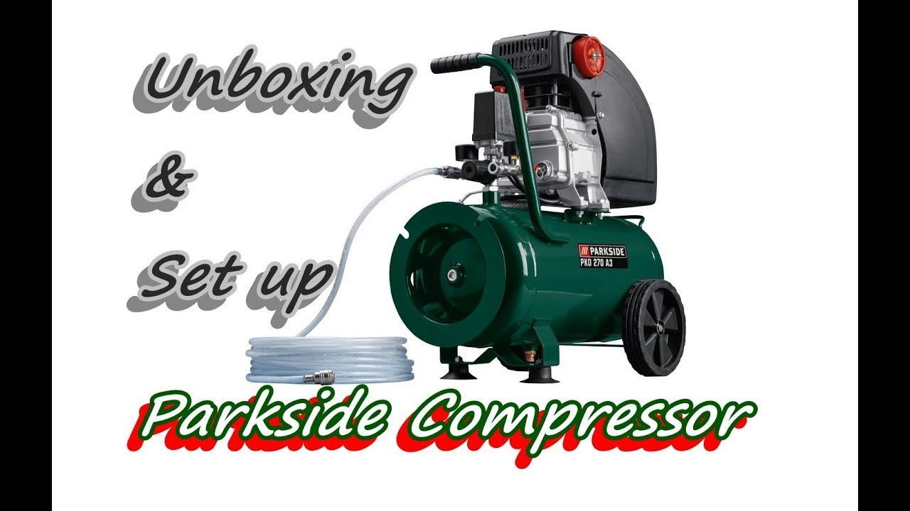 parkside 24l compressor from lidl unboxing set up youtube