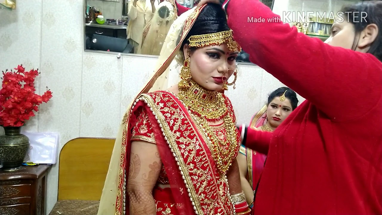 real bridal double dupatta setting in hindi