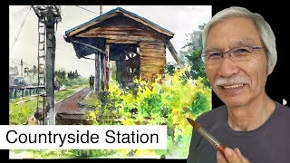 Eng sub  How to paint Countryside Station  Watercolor Techniques  Tips