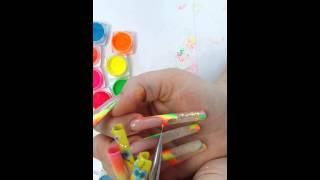 Дизайн ногтей. Неоновые пигменты.