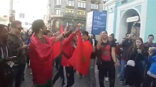 فيديو رائع للجماهير المغربية في روسيا وعزف النشيد المغربي من قلب مدينة سان بطرسبورغ