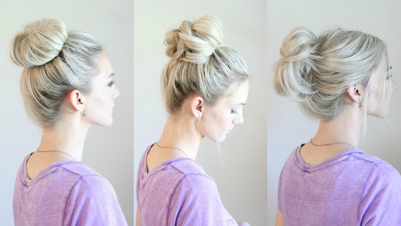 6 Easy Messy Buns - YouTube