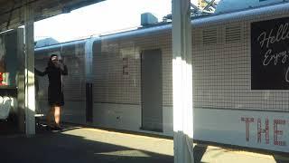 運行初日の西鉄「THE RAIL KITCHEN CHIKUGO」大牟田駅発車