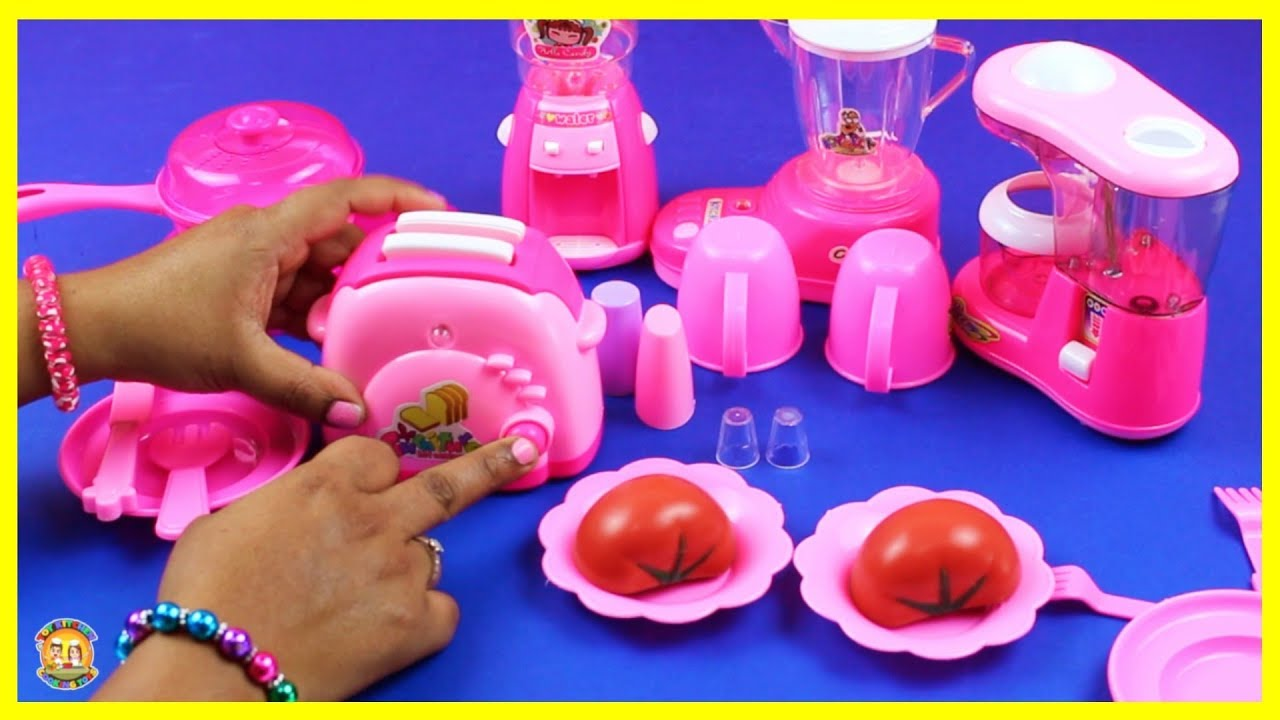 Pink Toy Kitchen Pretend Play | Kitchen Toys Cooking Video - Making Toy Grape Juice Toy Toast