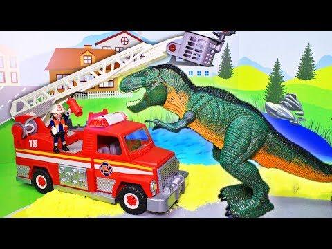 Мультфильм для детей с игрушками Плеймобил. Пикник. Мультики про динозавра и машинки 2019