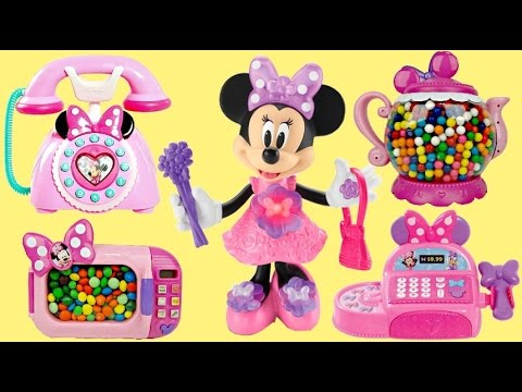 Compilation MINNIE MOUSE Playsets with Cash Register, Tea Pot Magical Microwave & Cash Register