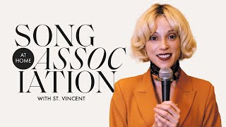 """St. Vincent Sings Janet Jackson, Bob Dylan & """"The Nowhere Inn"""" in a Game of Song Association   ELLE"""