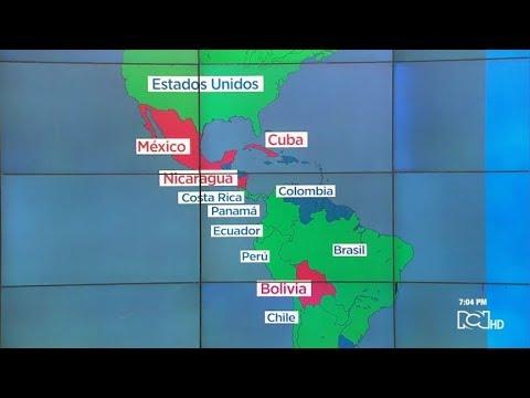 Mapa del respaldo internacional a Juan Guaidó, quien se juramentó como presidente venezolano