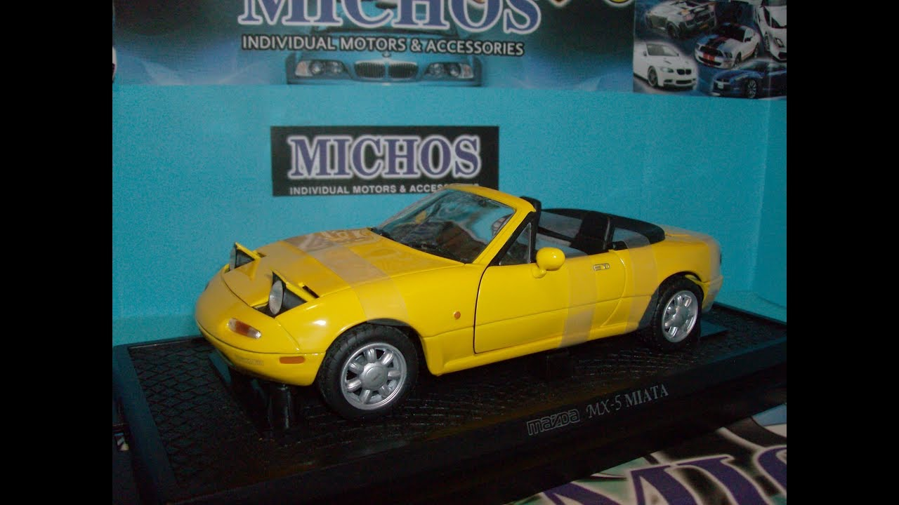 1 18 Mazda Mx 5 Miata Lhd Yellow Kyosho 08051y Diecast Model