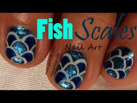 Blue Fish Scales Nail Art