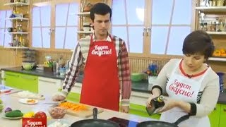 Будет вкусно! 04/12/2013 Салат с осьминогами, свинина с ростками сои. GuberniaTV