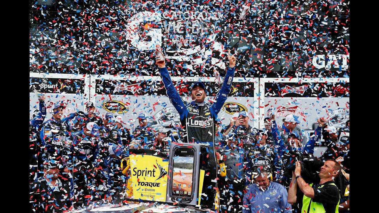 Daytona 500 Victory Lane with Jimmie Johnson 48! - YouTube