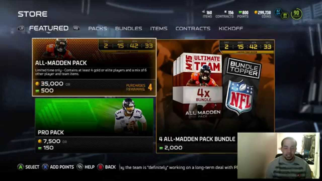 madden 15 ultimate team all madden pack bundle opening xbox one