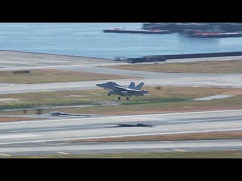 EA-18G Growler Touch-And-Go Landing + Taxiing At Iwakuni, Japan