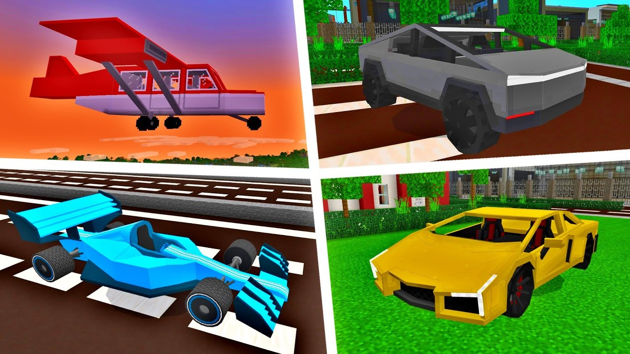 MCPE: TOP 5 BEST VEHICLES ADDONS Minecraft Pocket Edition (Win10