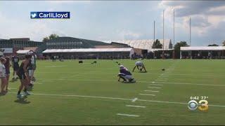 Carli Lloyd Crushes 55 Yard Field Goal After Eagles Training Camp Practice