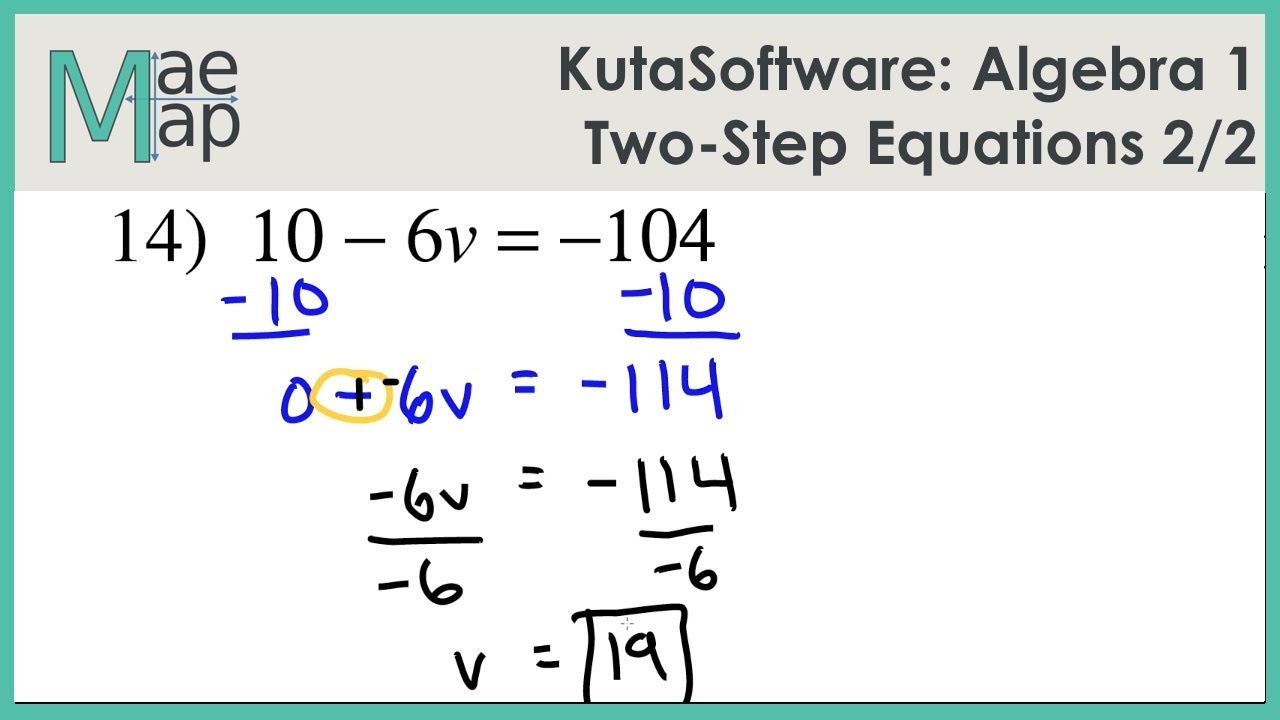 worksheet One And Two Step Equations Worksheets kutasoftware algebra 1 two step equations part 2 youtube 2