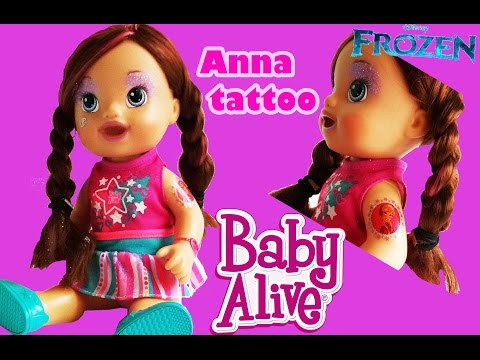 BABY ALIVE HAIR STYLING WITH ANNA FROZEN DISNEY MAKEUP AND ANNA TATTOO