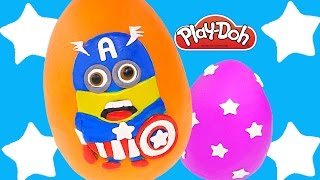 Captain America Giant Minion Play Doh Surprise Eggs Marvel Playdo Superhero Toys