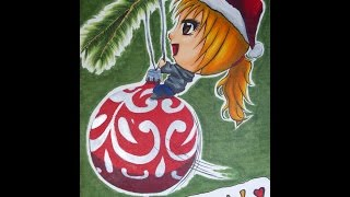 Christmas Chibi (Speed Drawing/Coloring with Copics & Nail Polish)