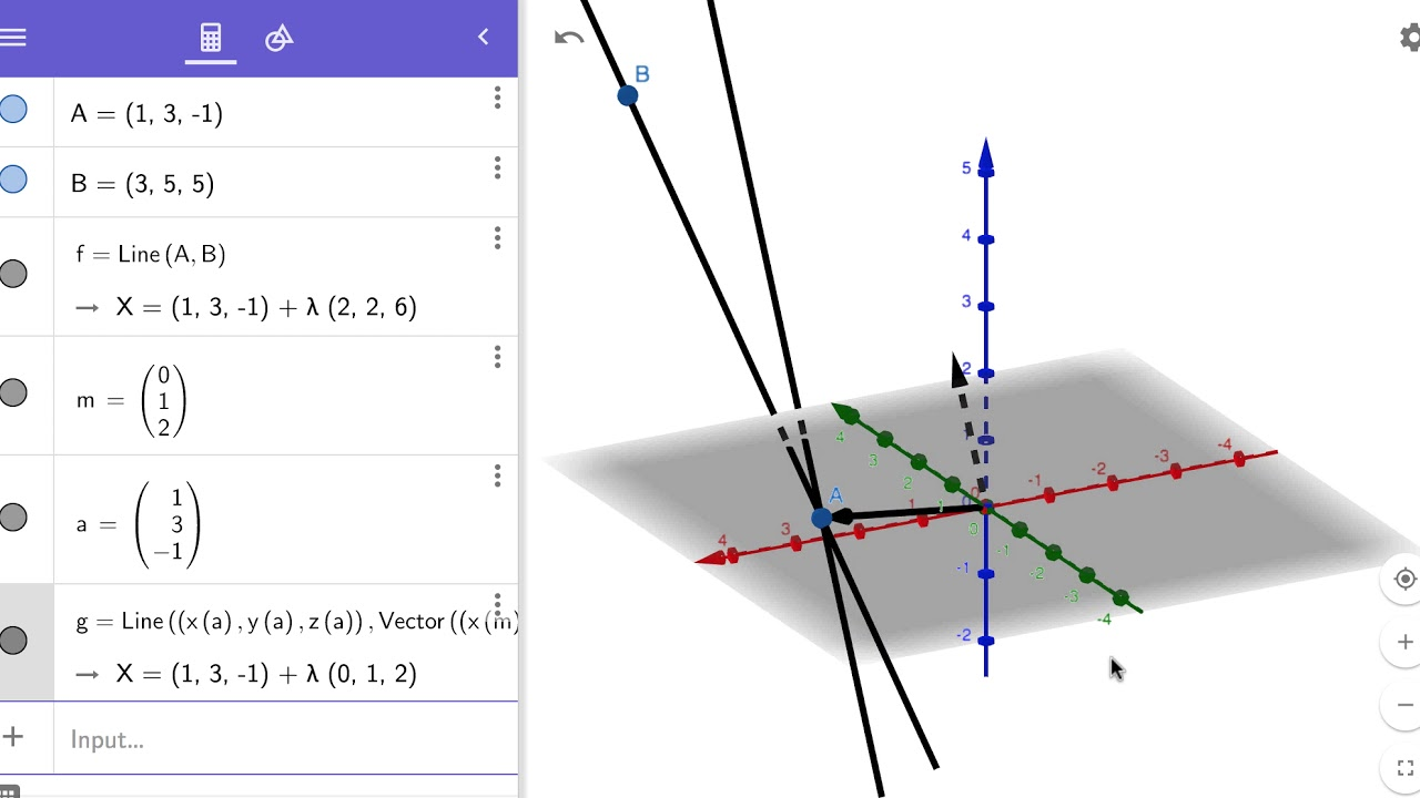 Graphing lines in 3D with Geogebra