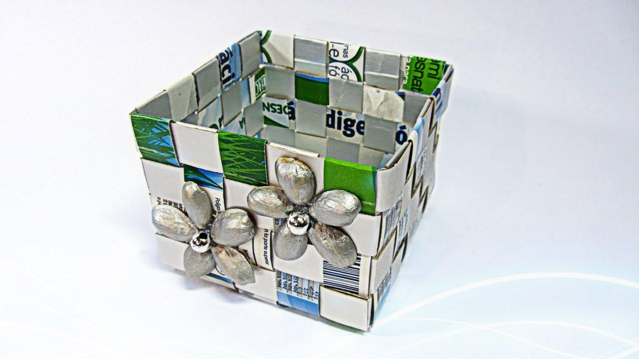 Como hacer una caja con tetrabrik tetrabrick box youtube - Manualidades con cajas ...