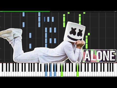 Alone - Marshmello PIANO TUTORIAL MIDI