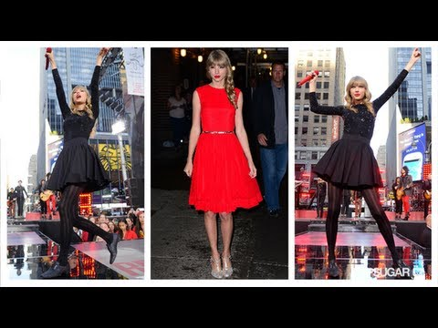 Taylor Swift Wears Red to Promote Her New Album