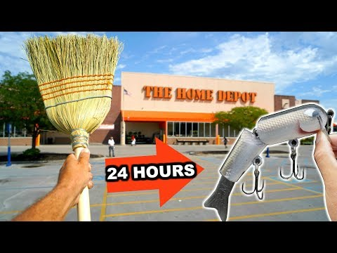 Making A Fishing Lure From A Broom Stick!!! --24 Hour Build To Catch!