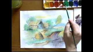 Как рисовать пейзаж акварелью(sovetmaserov.ru Как сохранить рисунок, работая акварелью? Рисунок ускользает, выходит кривым, результат работы..., 2013-04-27T12:21:24.000Z)
