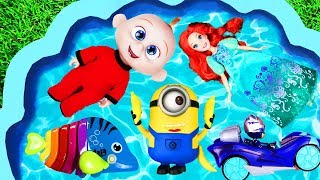 Toys go swimming in pool - learning character names for kids