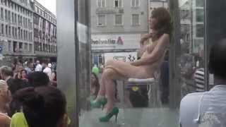 ART 45 Basel switzerland . Claraplatz Installation☯ Nackte Frau Nude woman Обнаженная женщина