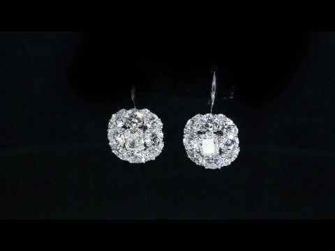 Diamond Drop Dangle Earrings Cushion and Round Cut Diamond FG/VS1 14K White Gold