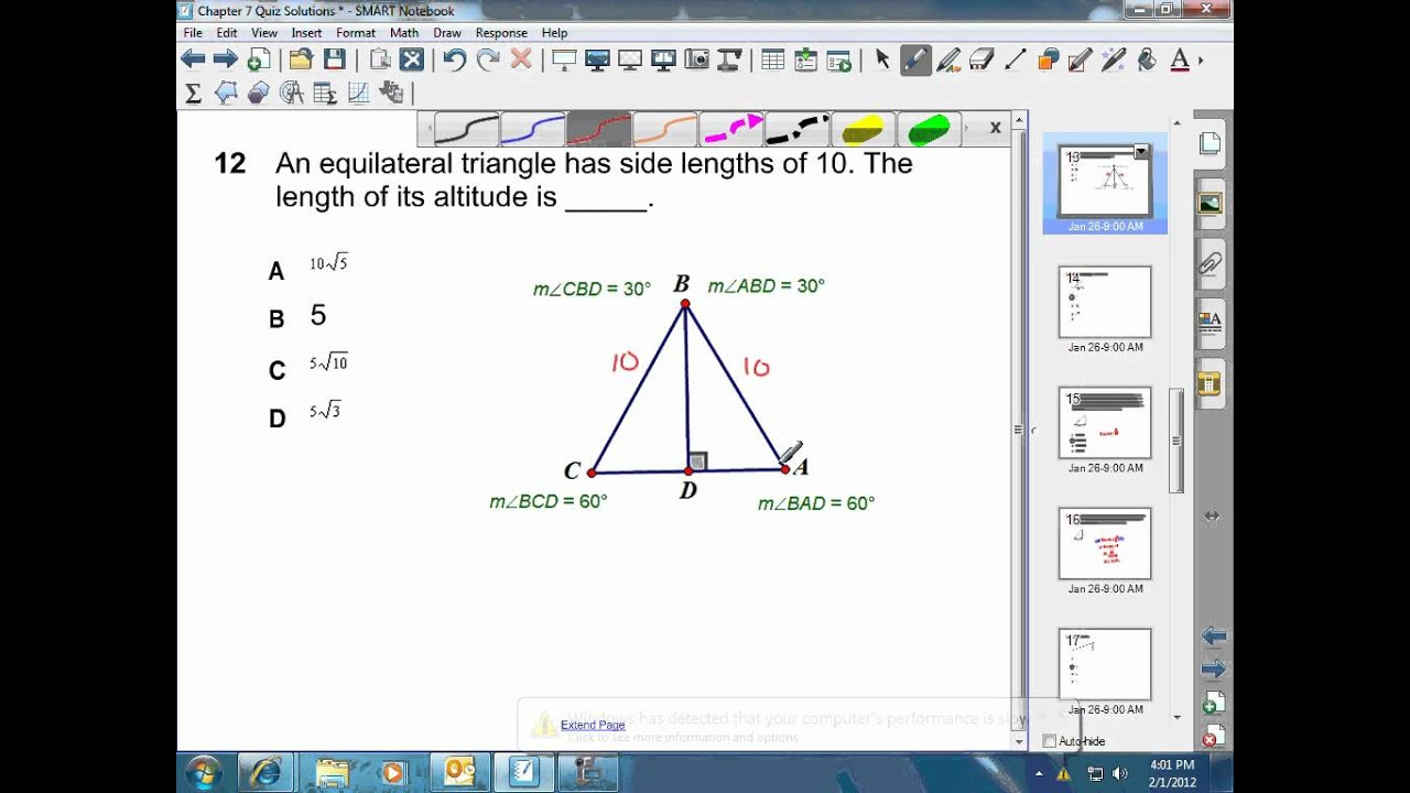 Length Of Altitude For Equilateral Triangle