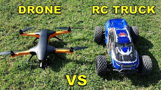 Drone VS RC Monster Truck - STAAKER Drone Chasing RC Car