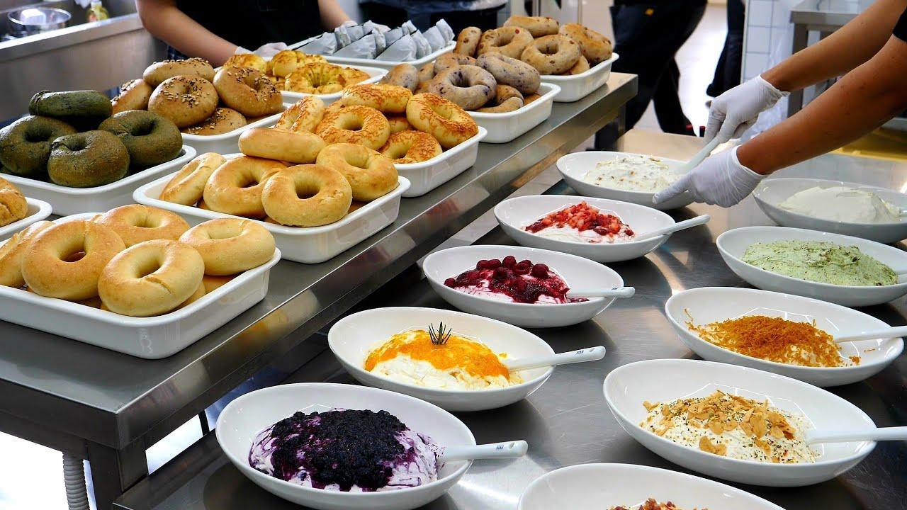 매일품절 대란! 엄청난 정성의 10가지맛 수제 베이글, 크림치즈 making various types of bagel, cream cheese - korean street food