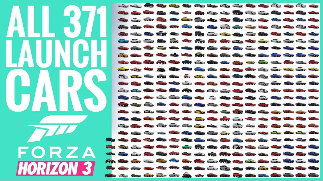 Forza Horizon 3 | Visual Car List | All 371 Launch Cars - YouTube
