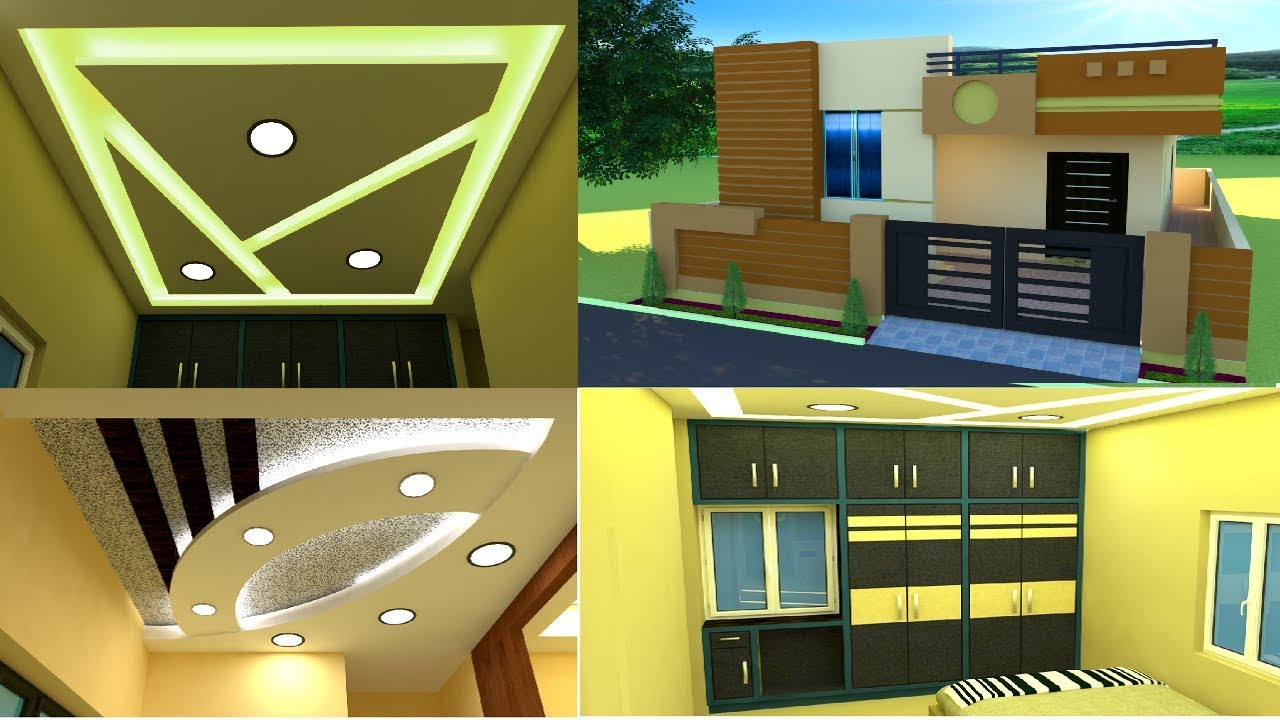 House Front Elevation Living Room False Ceiling Bedroom Cupboards