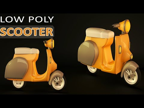 Cinema 4D Tutorial | Low Poly Scooter | Simple Poly Modeling