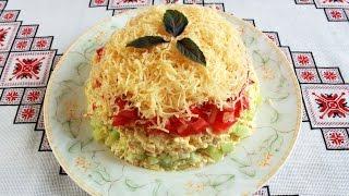 видео Салат с крабовыми палочками, сыром и помидорами