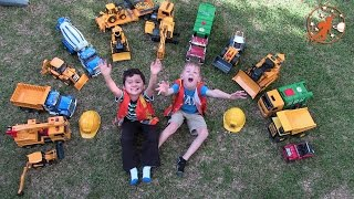 Construction Trucks Video for Kids, Toy Bruder Garbage Truck, Backhoe, Diggers, Playtime Outdoor Fun