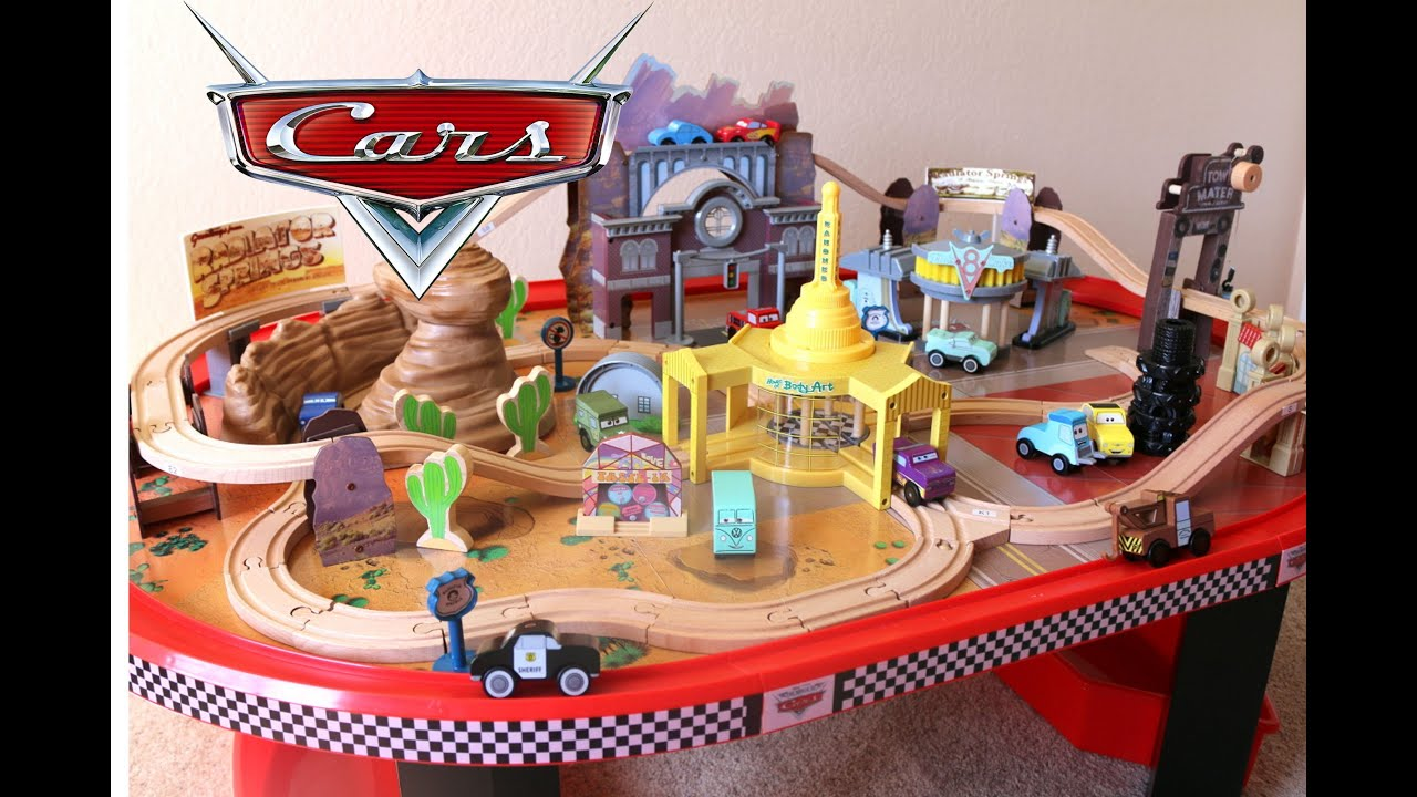 kidkraft disney cars toy radiator springs race track set and table