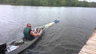 R/C boat pulls kayak
