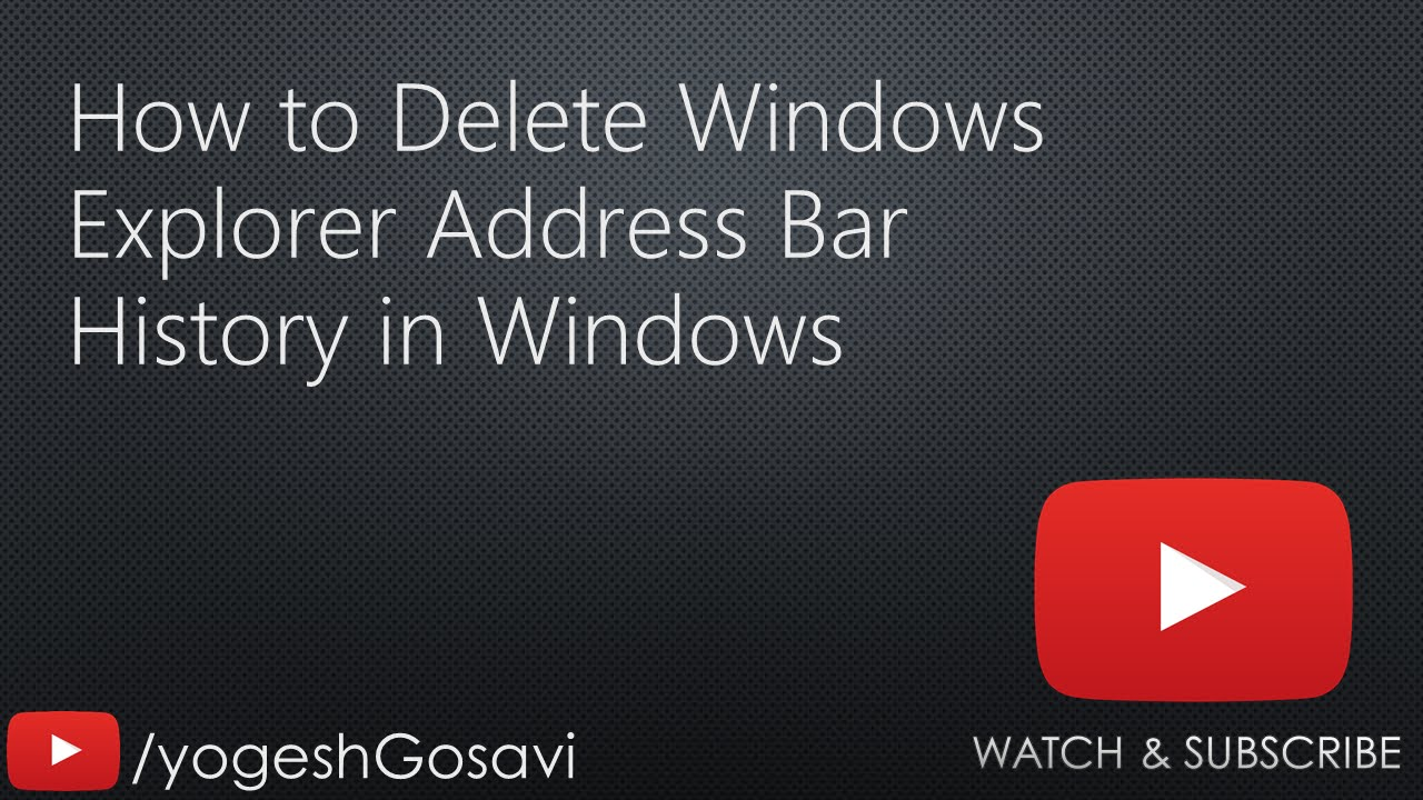 [tutorial] How To Delete Windows Explorer Address Bar History In Windows  [windows]