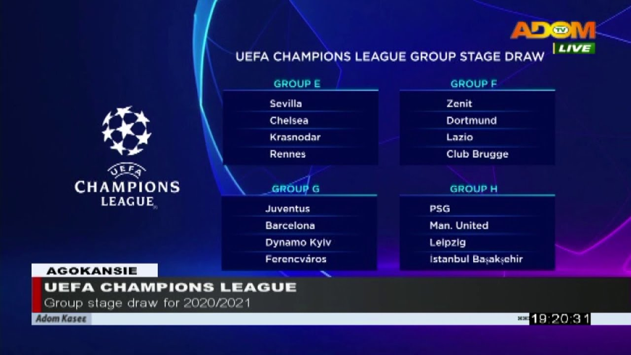 uefa champions league group stage draw for 2020 2021 agokansie adom tv news 1 10 20 youtube uefa champions league group stage draw for 2020 2021 agokansie adom tv news 1 10 20