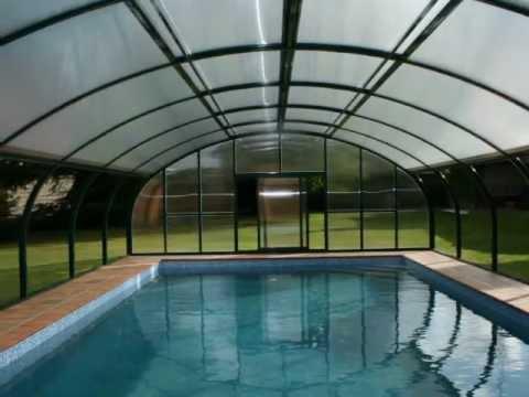Cubiertas para piscina y techos m viles tecnyvan youtube for Techos para albercas