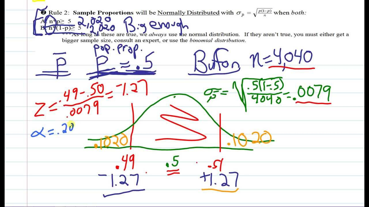 Stats: Sampling Distribution of a Proportion and Standard Error ...